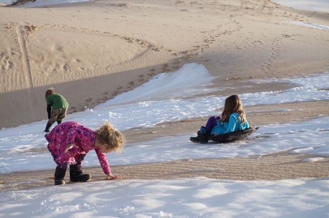 Sand:Snow sledding